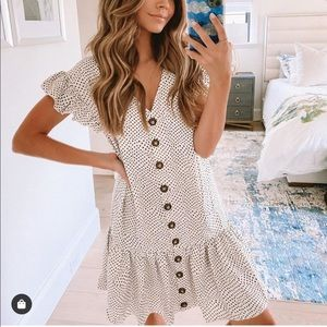 Polka dot ruffle button down babydoll dress